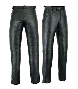 Motero-Mens-Motorcycle-Premium-Quality-Cow-Plain-Leather-Pants-Trousers-Black