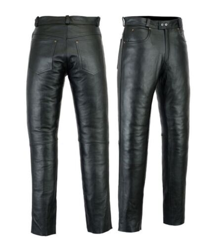 Motero Mens Motorcycle Jeans Pants trousers Premium Quality Cow Plain Leather