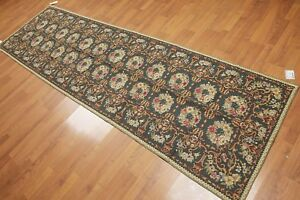 3-039-1-034-x-10-039-4-034-Runner-Handmade-French-Aubusson-Needlepoint-wool-area-rug-Green