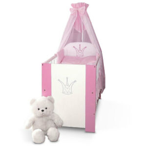 Krone Bett Rosa Babybett Kinderbett 120x60 Baby Bett komplett mit Bettwäsche
