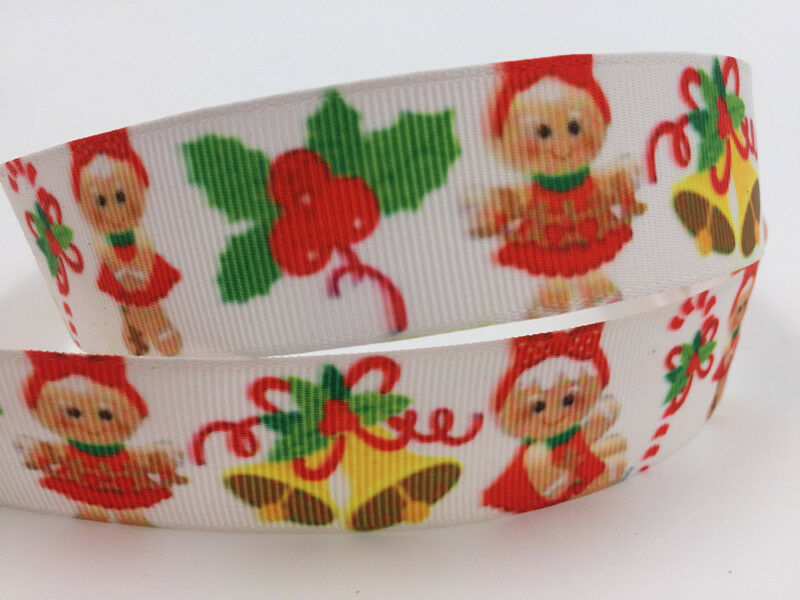 """gift wrap 1/""""25mm Printed Christmas Grosgrain Ribbon Hair Bow Sewing Crafts"""