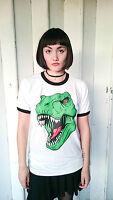 T-Rex Ringer T-shirt Dinosaur T-shirt Two Tone Jurassic Park Tyrannosaurus New
