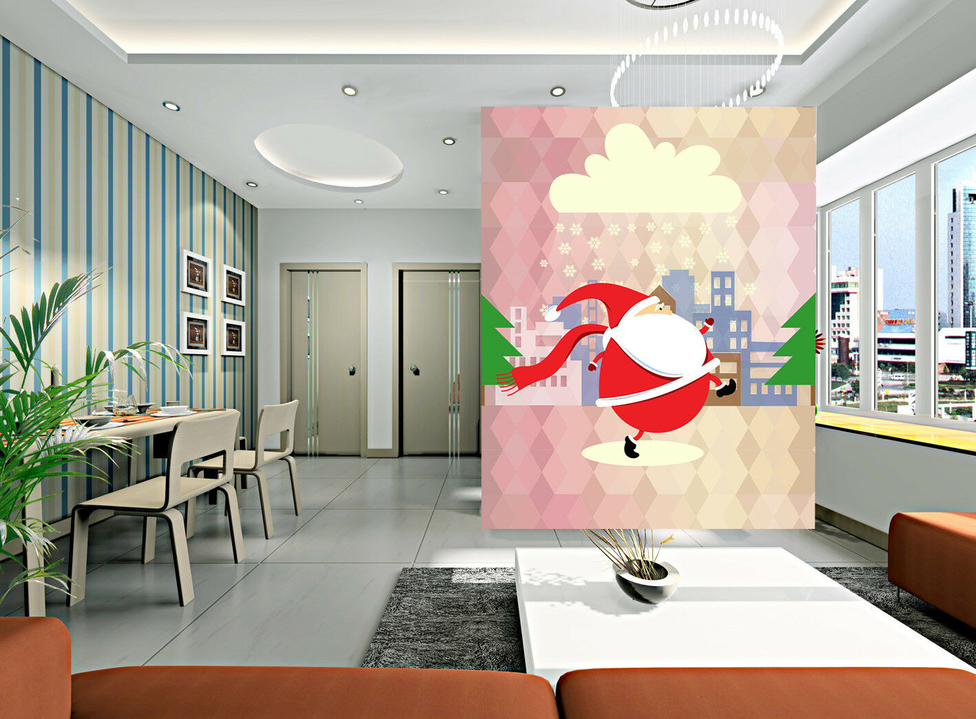 3D Santa Claus Clouds 718 Wallpaper Murals Paper Wall Print Wallpaper Mural UK