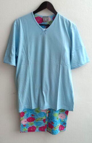 S Normann Damen Schlafanzug Pyjama blau 3//4-Hose Kurzarm Hose Blumen Gr M NEU!