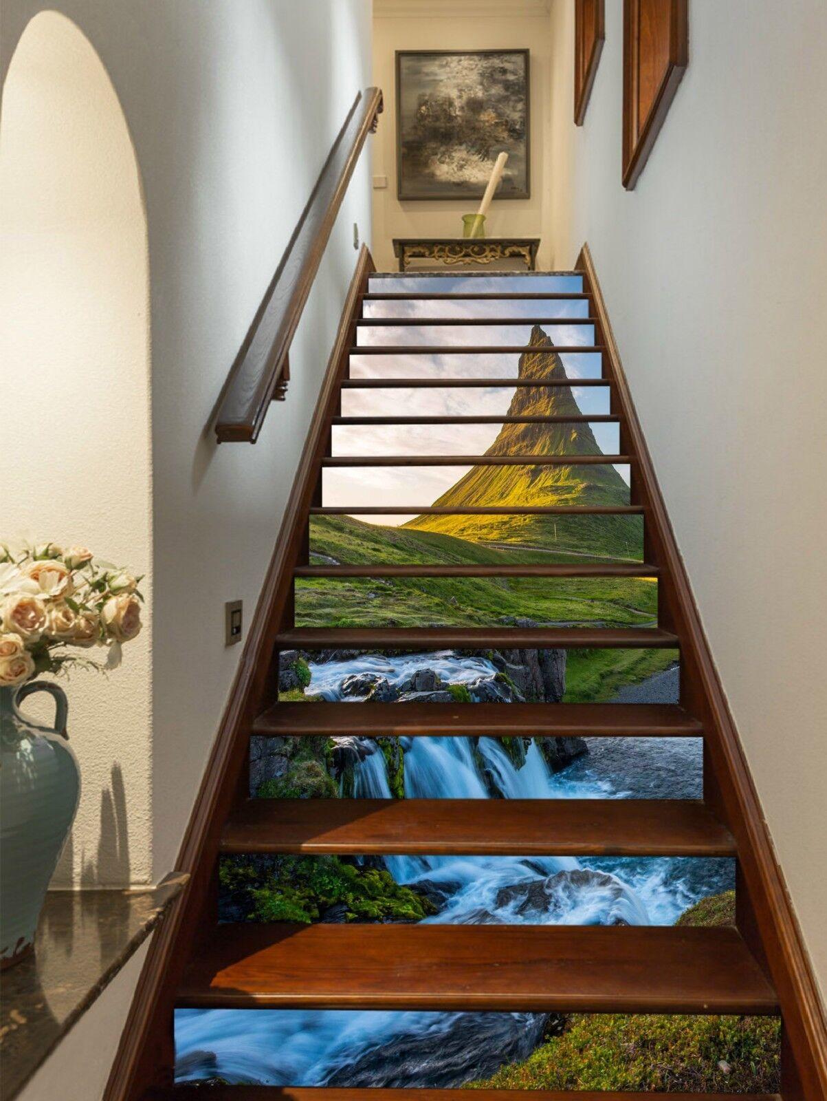 3D Gebirgsfluss 005 Stair Risers Dekoration Fototapete Vinyl Aufkleber Tapete DE