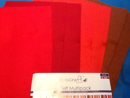 A4 Fieltro Multipack por Dovecraft Essentials Total 8 Craft 2 Hojas De 4 Colores