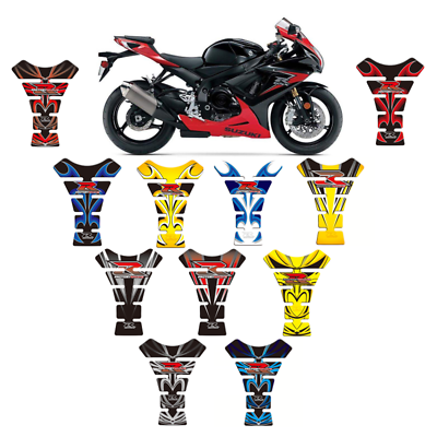 Stickers for fuel tank tankpad 3D effect resin adhesive sticker compatible with Suzuki GSXR 600 750 1000 Blue