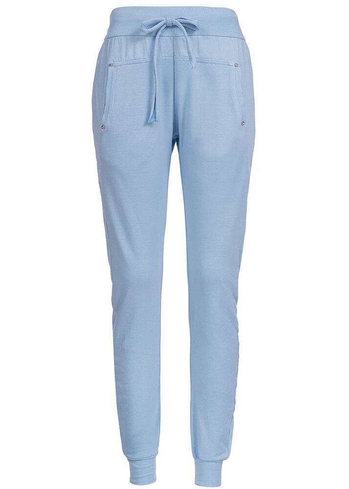 50% Off B15050197 Femmes Madonna Pantalon Jogging Pantalon Strass Rivets Taille Élastique Bleu