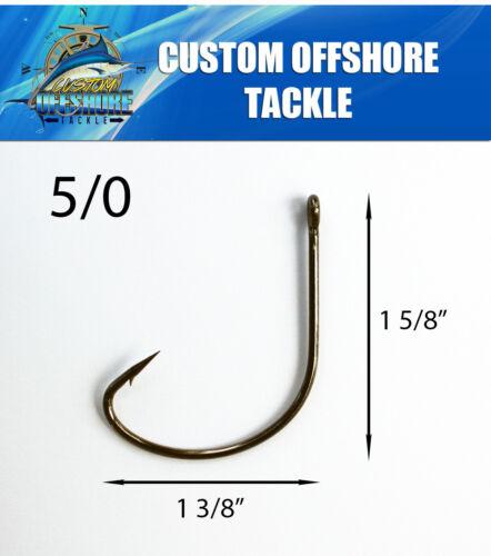 25 Size 5//0 Custom Offshore Tackle Kahle Offset Black Nickel Hooks Straight Eye