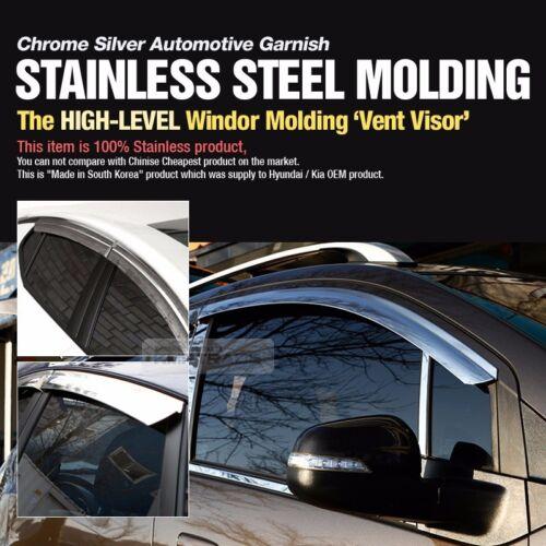 Stainless Chrome Window Sun Vent Deflector Visor Trim For KIA 13-18 Cerato Forte