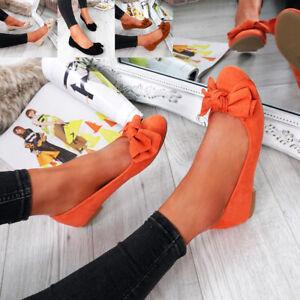 Débardeur Femme Bow Enfiler Ballerines Dolly Escarpins Plat Ballet Chaussures Taille Uk-afficher Le Titre D'origine