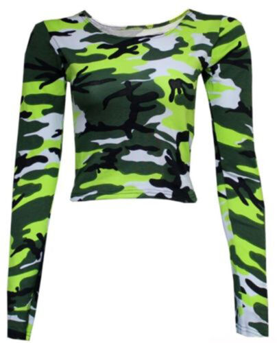 WOMENS LADIES LONG TARTAN CAMOUFLAGE ANIMAL PRINT LONG SLEEVE CROP TOP VEST 8-14