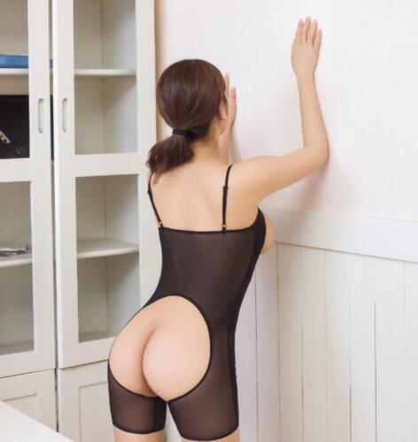 Women Lingerie Open Bust Mesh Bodysuit Underwear Crotchless Leotard Nightwear