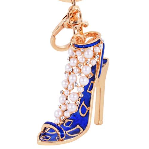 Fashion Enamel Women Handbag Key Ring Crystal Golden High Heeled Shoes Keychain