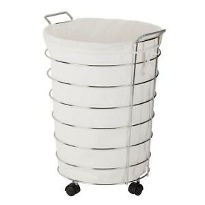Image Is Loading Wire Laundry Hamper Rolling Linen Clothes Canvas Bag