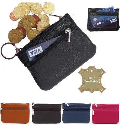 Porte Monnaie Carte Bourse Homme / Femme Noir Cuir Veritable Lustro Incantevole