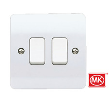 2xMK Electric K4871 White 10A 1 Gang Single Pole 2 Way Light Switch Plate Switch