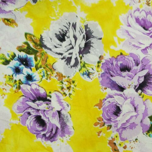 "41"" Wd Yellow Fabric Cotton Voile Floral Design Dress Making Fabric 1 Metre"