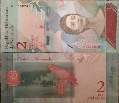 VENEZUELA 2018 2 BOLIVARES SOBERANO UNC NOTE P-NEW PARROT LOW PRICE FAST SHIP !!