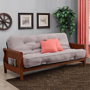 futon sofa bed with mattress full size sleeper couch convertible frame lounger ebay. Black Bedroom Furniture Sets. Home Design Ideas