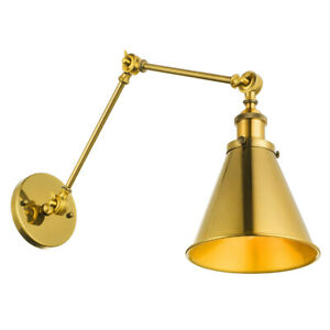 Details About Br Gold Swing Arm Wall Sconce Home Office Lamp Indoor Light
