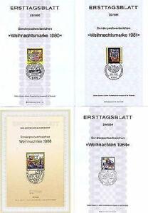 BRD-1980-1988-Weihnachten-Ersttagsblatter-Nr-1066-1113-1233-1396-1603