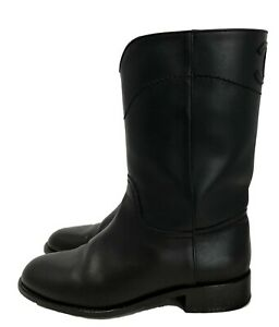 CHANEL-BLACK-LEATHER-CC-SHORT-RIDING-BOOTS-39-1800
