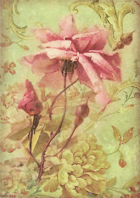 Rice paper for Decoupage -Antique Rose- Scrapbooking Sheet Craft