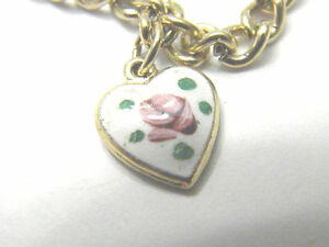 Lovely-Guilloche-style-rose-on-Heart-Park-Lane-Charm-Bracelet-Vintage-Jewelry
