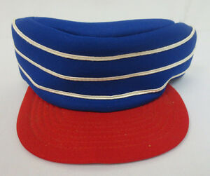 68c66f16c2031 Details about PILLBOX BLUE RED BASEBALL STYLE HAT CAP VINTAGE RETRO VTG  MENS TRUCKER SNAPBACK