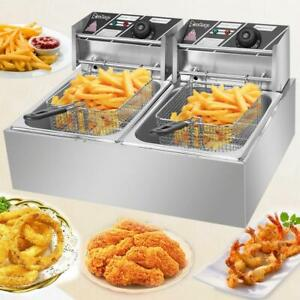ZOKOP-5000W-12L-Stainsteel-Electric-Deep-Fryer-Dual-Tank-Commercial-Restaurant