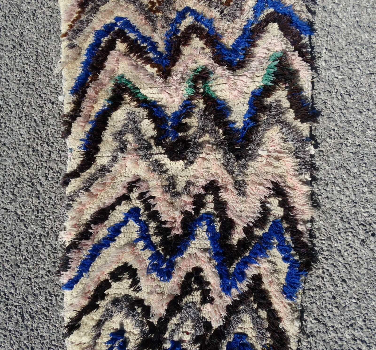 Teppich Azilal Moroccan Rug 100% Wool Beni Ourain Vintage Carpet 5'8  x 2'5