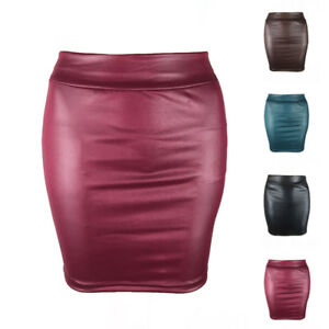 750fd279b5bb6 Women PU Leather Skirt Bodycon High Waist Mini Skirts Party Clubwear ...