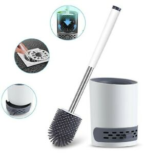 TPR Rubber Silicone Toilet Brush /& Holder Base Bathroom Cleaning w// Tweezer Kit