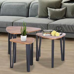 Homcom 3 Pcs Nesting Table Coffee Table Set Mdf Living Room Furniture Walnut Ebay