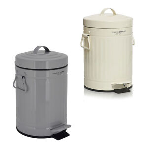 Charles-Bentley-Kitchen-Mini-Bin-in-Beige-Made-of-Steel-Pedal-Operated-3-Ltr