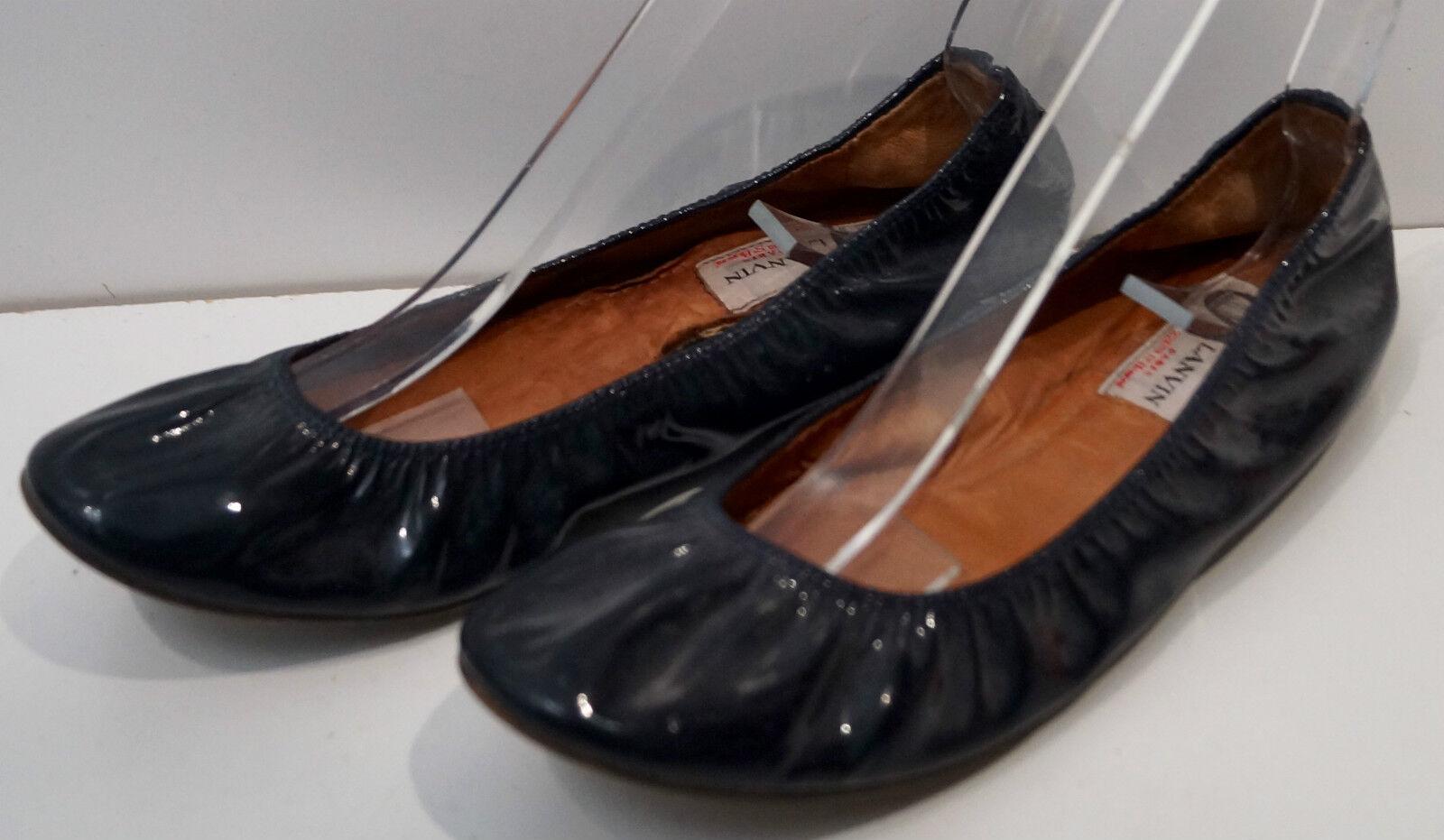 LANVIN Black Leather Patent Elastic Opening Flat Ballerina Pump shoes EU39 UK6