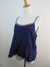 A2 DARK BLUE RED POLKA DOT ABERCROMBIE & FITCH WOMENS ROPE STRAP STUDS TOP SZ M