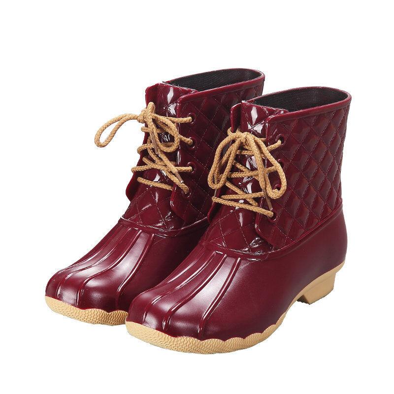 Women Rain Boots Winter Waterproof Warm Casual Ankle Work Shoe Lace Up Round Toe