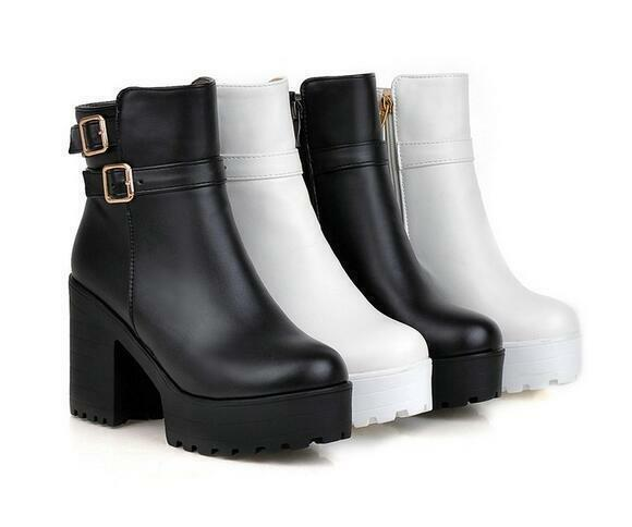 Womens High Block Heel Buckle Zip Ankle Boots Round Toe Platform Knight Shoes
