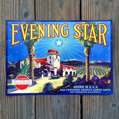 Vintage Original EVENING STAR LEMON CITRUS Crate Box Label California Red Ball