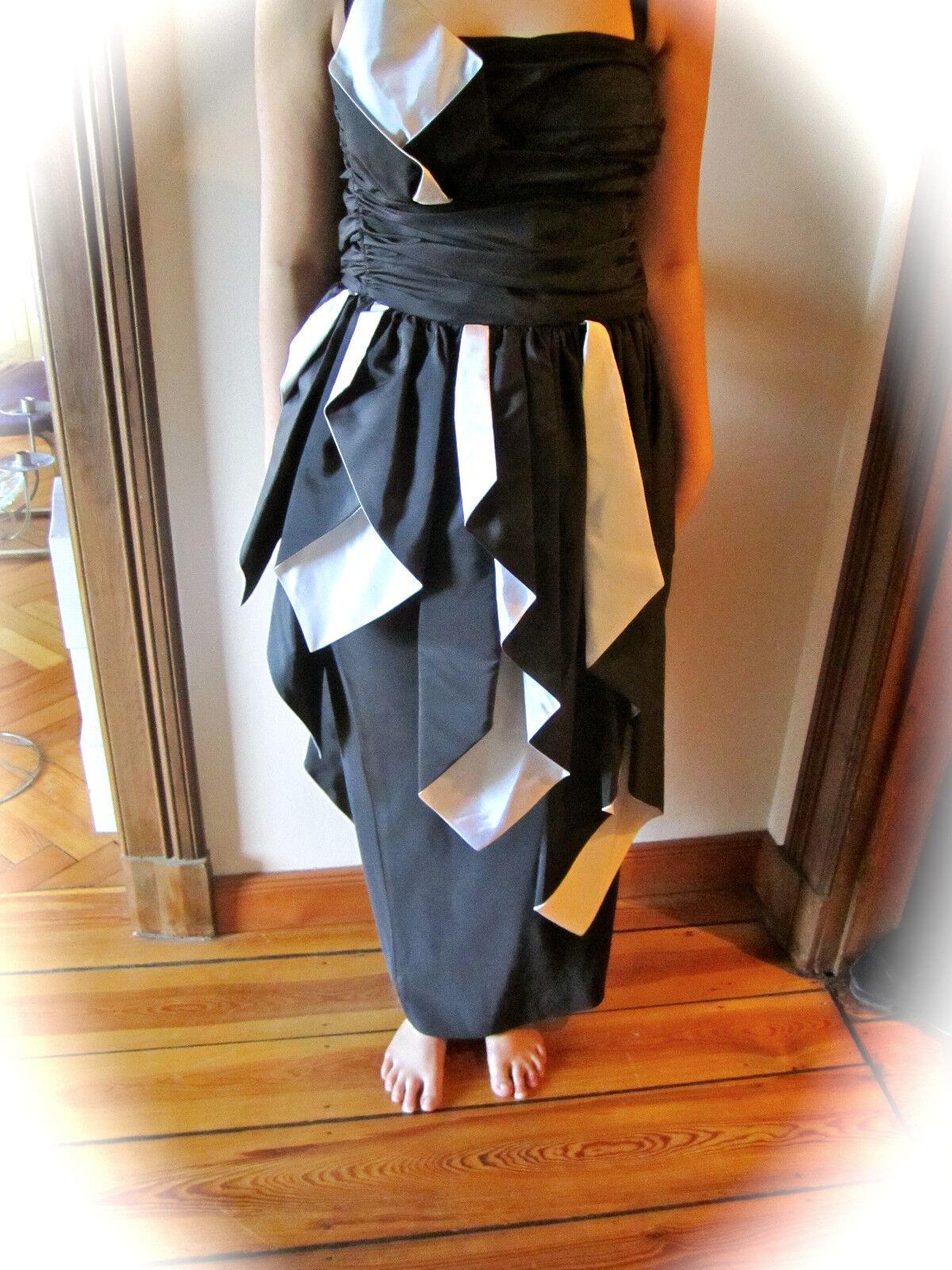 Abendkleid Corsagenkleid Gr. 38 Schwarz   Weiss  Designer Frank Usher aus London