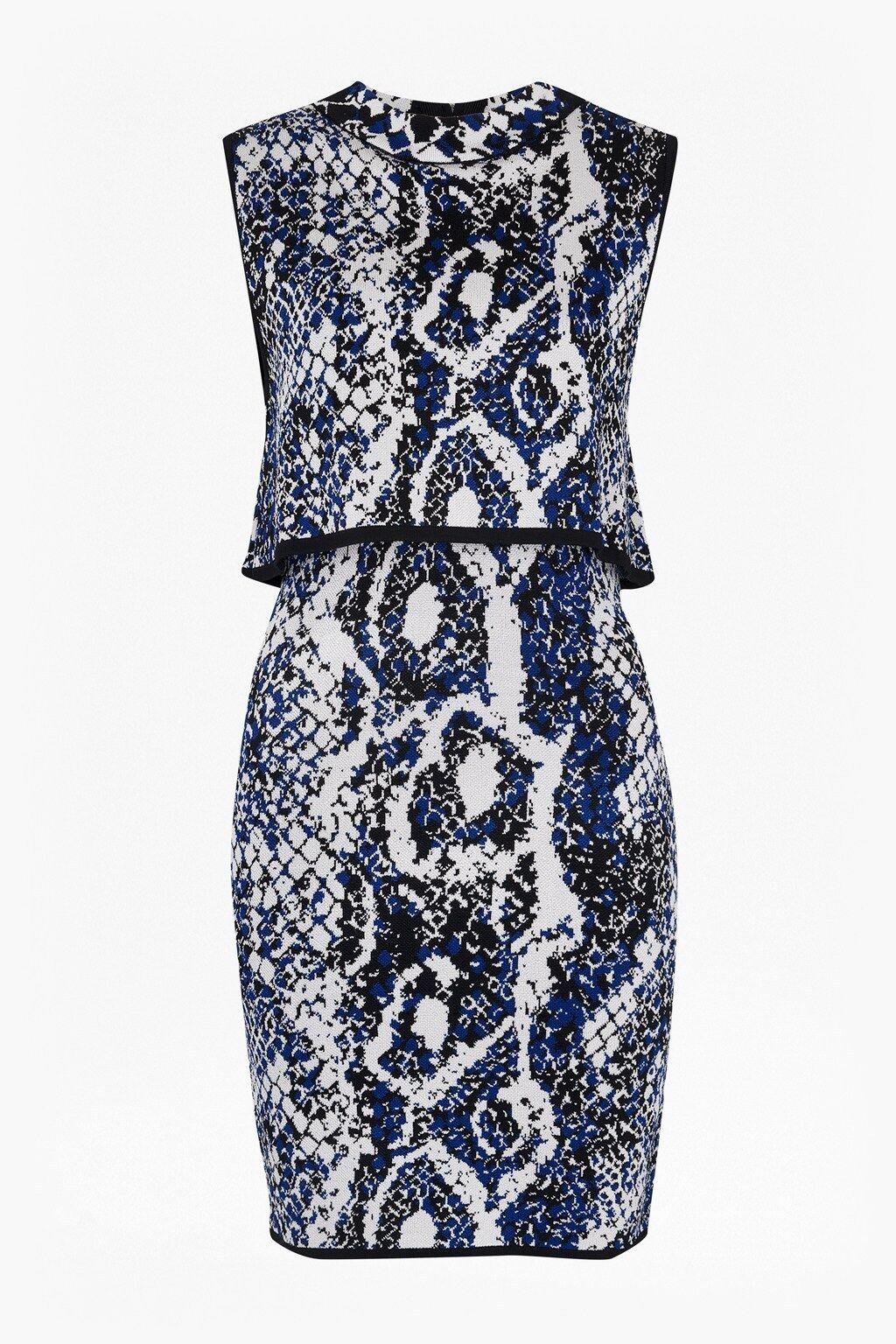 New French Connection Blau grau schwarz Spotlight Boa Layer Dress Sz UK 10