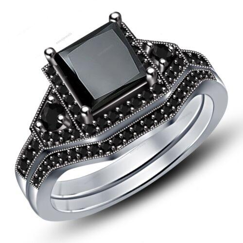 2.50 Ct Black Diamond Engagement Ring Wedding Set Womens Bridal 14k White Gold