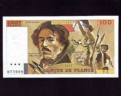Pick 154 Scarce First Date UNC France 1978 154a 100 francs pre-Euro