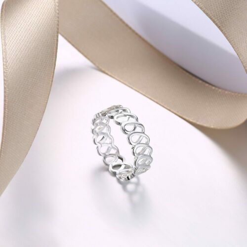 Fashion 925 Sterling Argent Massif Bijoux Géométrie Anneaux pour femmes R944