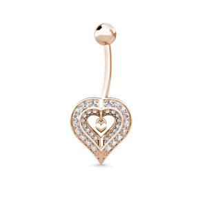 Details About 14k White Yellow Gold 0 40ct Created Diamond Two Hearts Navel Belly Button Ring