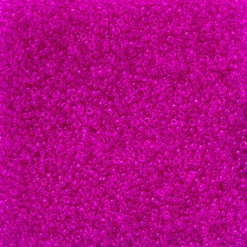N21//6 Miyuki Size 15//0 Dyed Transparent Fuchsia 15-1310 Seed Beads 8.2g