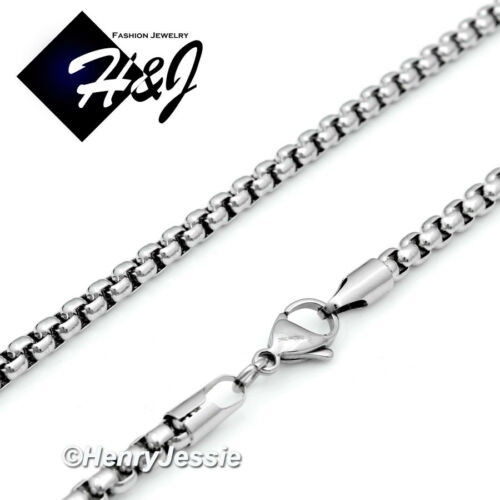 """MEN/'s Stainless Steel 4mm Silver Smooth Box Link Chain Necklace*24/""""30/""""36/"""""""