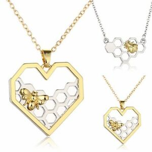 Women-Heart-Shape-Honeycomb-Beehive-Hive-Honey-Bee-Pendant-Long-Chain-Necklace